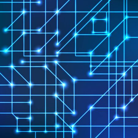 Vector background of bright neon lines with intersection nodes. Data transmission concept of networks and neural networks. Geometric pattern of squares of cubes and triangles.