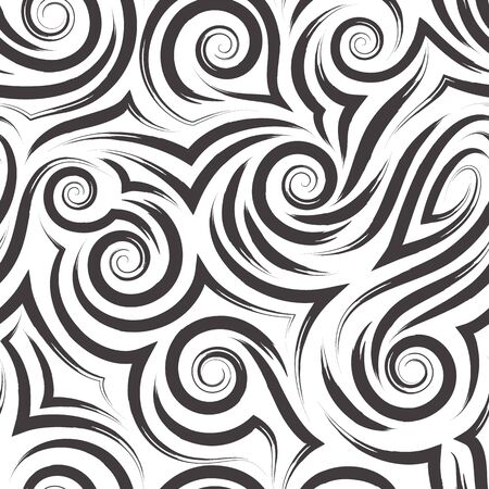 Vector black seamless pattern of spirals and curls for decoration and printing on fabric on a white background. Texture of swirl or sea waves for wrapping paper and clothes.