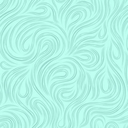 Vector marine seamless texture for decorating fabrics or paper from cut lines, rotating in the form of loops and spirals on a turquoise background.