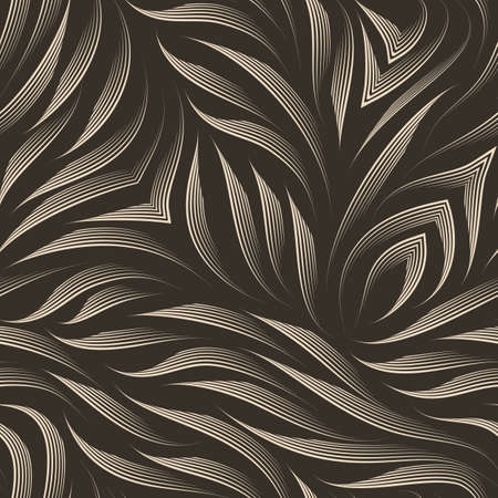 Seamless vector pattern of smooth lines drawn by a beige pen on a brown background. Print for clothes or paper.