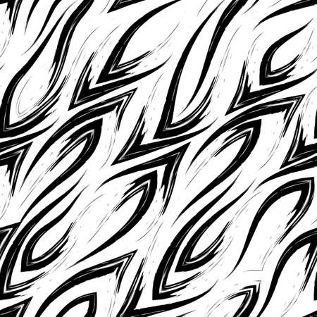 Seamless vector black line pattern with sharp corners smoothly flowing into each other isolated on a white background. Print for fabric or wrapping paper.