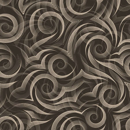 Seamless vector pattern of smooth lines drawn by beige pen in the form of spirals and curls isolated on a brown background. Print for clothes or paper.