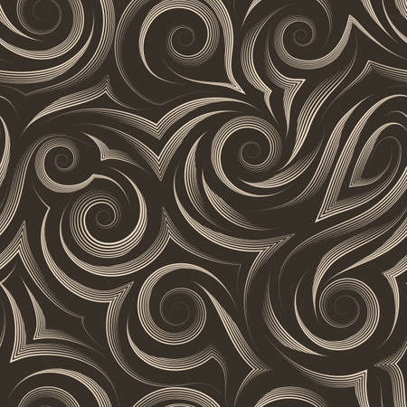 Seamless vector pattern of smooth lines drawn by beige pen in the form of spirals and curls isolated on a brown background. Print for clothes or paper