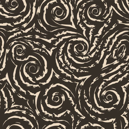 seamless beige texture in the form of spirals and curls of waves and splashes on a brown background. Swirl or flow in the form of smooth lines with torn edges. Texture for fabric and paper curtains or pillows