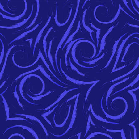 seamless pattern of smooth waves and swirl of blue color. Watercolor brush strokes texture for fabric or packaging.Trend color Phantom blue Stock fotó