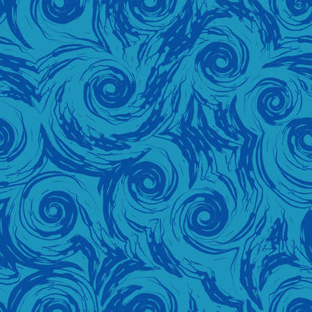 Seamless pattern of turquoise spirals and abstract shapes on a blue background. The texture of the swirl of the sea or the current, curls of swirls and waves