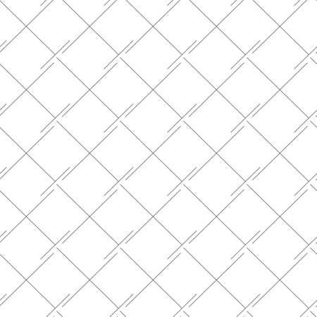 Vector Seamless Linear Pattern Squares Rhombuses Black Lines Isolated White Illusztráció