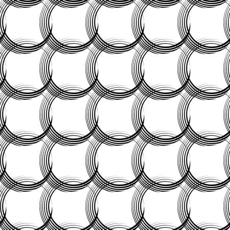 Vector seamless linear pattern of uneven lines in the form of intersecting circles. Black lines drawn with a pen in the form of circles isolated on white background. Stock Illustratie