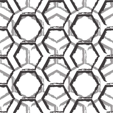 Seamless vector pattern of black and gray hexagons isolated on white background.Geometric texture for background from polygons drawn by lines with torn edges. Stock Illustratie