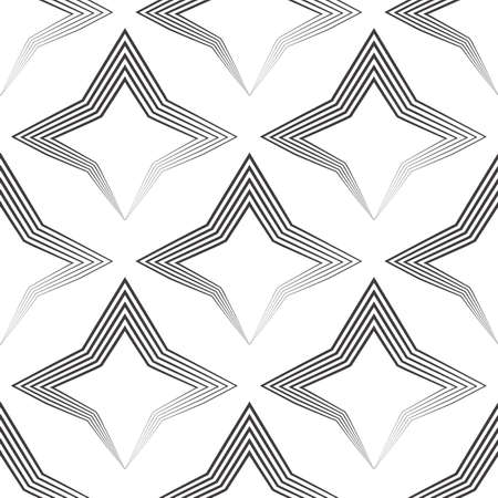 Seamless vector pattern of uneven black lines drawn by a pen in the form of stars or rhombuses. Geometric pattern, texture for textile or wallpaper. Stock vector. Stock Illustratie