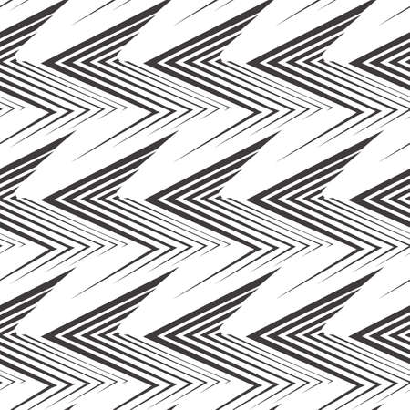 Seamless vector pattern of uneven black lines drawn with a pen in the form of corners or zigzag. Geometric pattern, texture for textiles or wallpaper. Stock vector. Stock Illustratie