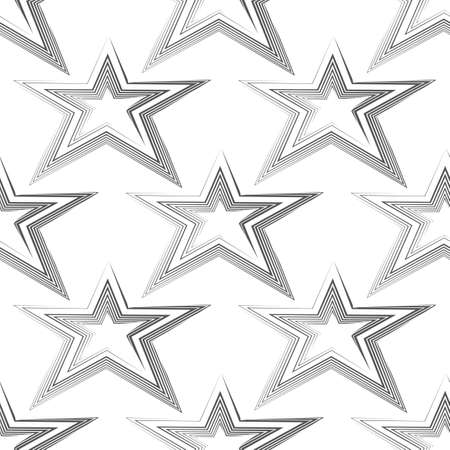 Seamless vector pattern of black lines in the form of a star isolated on white background.Simple geometric background for decoration or backdrop. Stock Illustratie