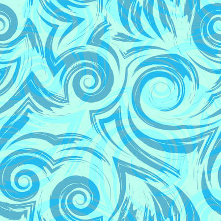 Vector seamless pattern of sea waves swirls curls blue turquoise texture for fabric or wrapping paper Stock Illustratie