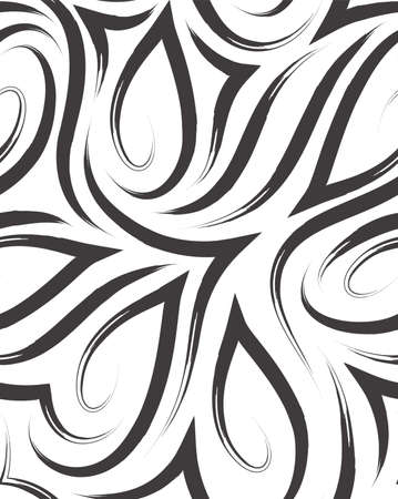 Vector seamless pattern of smooth corners and lines drawn with brush.Texture of black lines on white.Monochrome background Stock Illustratie