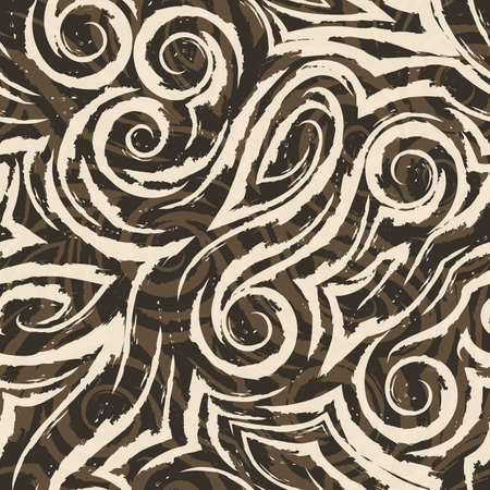 Vector seamless pattern of abstract shapes and splashes. on a brown background for decor. Texture for curtains fabrics or wrapping paper. Spiral waves bends and loops. Illusztráció