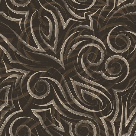 Vector beige seamless pattern drawn with a pen or liner for decoration on a brown background.Smooth uneven lines in the form of spirals of corners and loops.