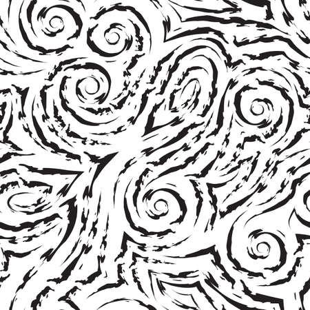 Vector black seamless pattern drawn with a brush for decor isolated on a white background.Smooth lines with torn edges in the form of spirals of corners and loops. Illusztráció