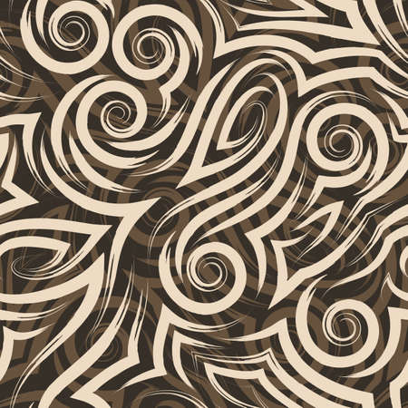 Vector seamless beige pattern painted with paint on a brown background for decor. Texture for curtains fabrics or wrapping paper.