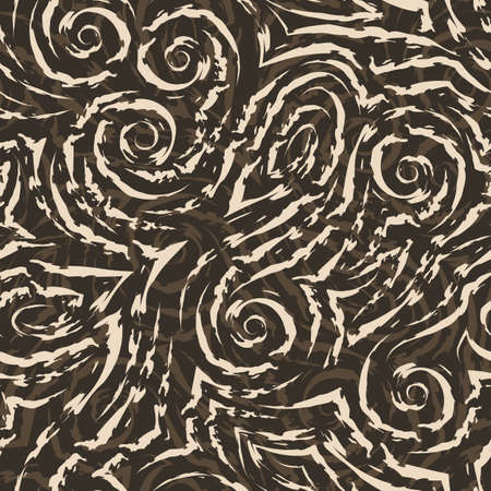 Vector beige seamless pattern drawn with a brush for decor on a brown background.Smooth lines with torn edges in the form of spirals of corners and loops.