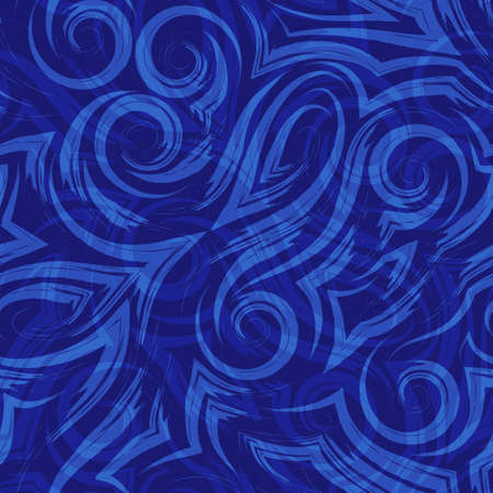 Vector blue seamless pattern of waves or swirl drawn with a brush for decor on a dark background.Smooth uneven lines in the form of spirals of corners and loops.