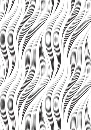 Vector seamless pattern of smooth lines drawn with a black pen or liner isolated on a white background.Texture for fabric or wrapping paper.