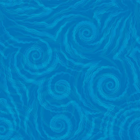 Vector seamless pattern of blue spirals of lines and corners on a blue background.Texture of flowing shapes and lines with ripples.Background for decoration of fabrics or packaging.