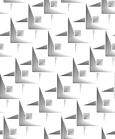 Seamless vector pattern of black lines in the form of corners. Simple abstract geometric texture on a white background.