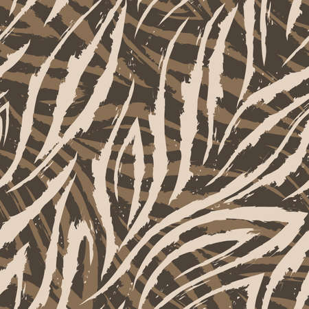 Vector seamless pattern of beige lines and corners on a brown background.Texture of flowing shapes and lines with torn edges.Zebra skin or fur