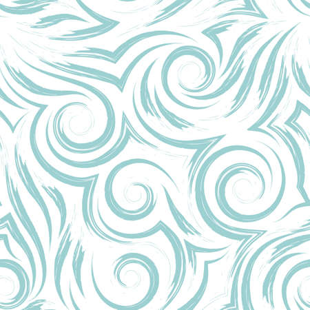 Vector seamless pattern of black spirals of lines and corners on a white background.Texture of flowing shapes and lines of waves or sea.Background for decoration of fabrics or packaging.