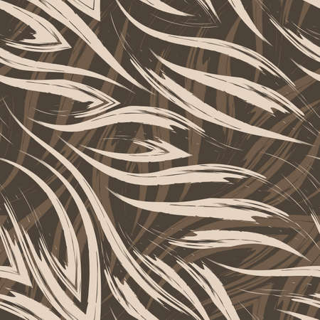 Vector seamless pattern of beige paint strokes on a brown background. Simple texture made from brush strokes in pastel colors. Illusztráció