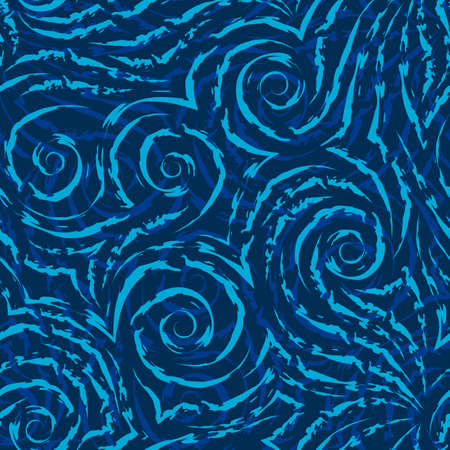 Vector seamless pattern of turquoise spirals of lines and corners on a blue background.Texture of flowing shapes and lines with torn edges.Background for decoration of fabrics or packaging.
