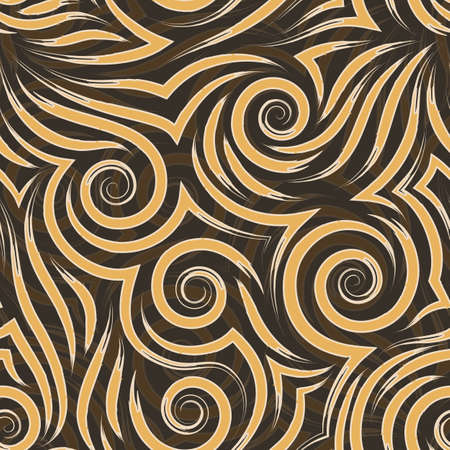 Vector seamless pattern of orange and beige spirals of lines and corners.Smooth texture on a brown background.For decoration or design of fabrics and paper.