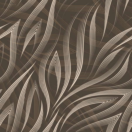 Vector seamless pattern of beige lines and corners on a brown background.Texture of flowing shapes and lines for the flow or sea in pastel colors.
