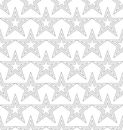 Vector uniform seamless pattern of stars drawn by uniform lines in black on a white background.