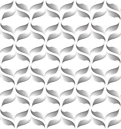 Vector seamless pattern of lines drawn by a black pen isolated on white background.Geometric texture from flowing stripes and abstract shapes.