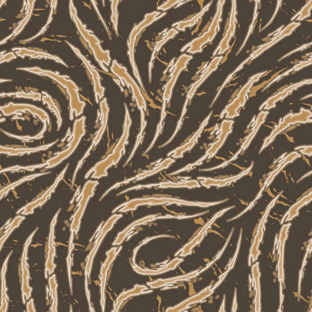 Vector seamless pattern of smooth brush strokes with torn edges of beige color on a brown background.Wave or flow texture. Print wallpaper or fabric. Stock Illustratie