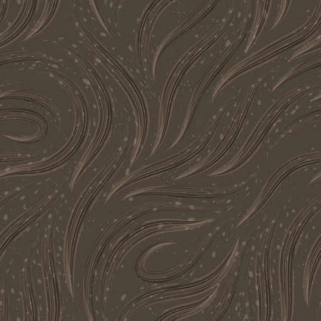 Vector seamless pattern of lines drawn with watercolors of beige color on a brown background with splashes and drops.Texture of smooth stripes and loops.