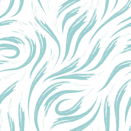Vector seamless pattern of smooth brush strokes in blue on a white background.texture of waves or flow. Print wallpaper or fabric.