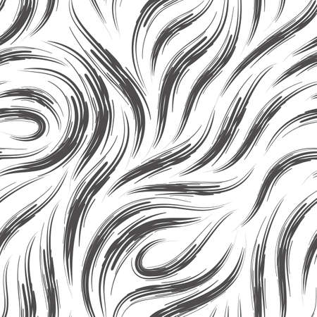 Vector seamless pattern of lines drawn with rough strokes of black on a white background.Monochrome texture of smooth stripes and loops.