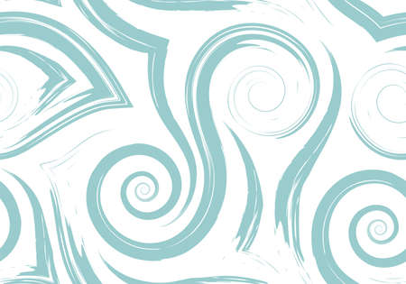 Stock Seamless vector pattern of turquoise flowing lines and spirals isolated on white background.Waves and swirl texture for packaging or website background decor.