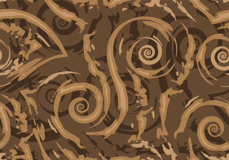 Stock Seamless vector pattern of brown torn lines and spirals on a dark background.Texture for wrapping or decorating fabrics.