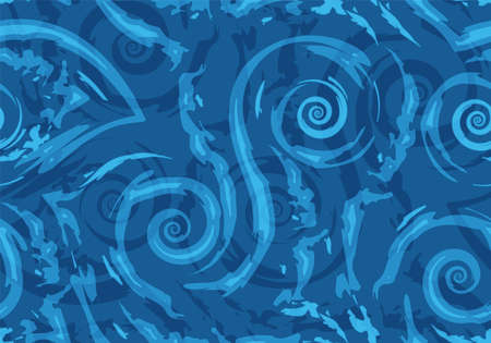 Stock Seamless vector pattern of blue torn lines and spirals on a nautical background. Texture of waves and swirls for wrapping or decorating fabrics. Stock Illustratie