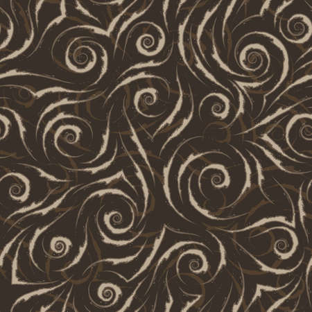 Stock seamless vector pattern of beige flowing lines with torn edges with brown strokes on a brown background. Stock Illustratie
