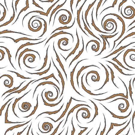 Stock seamless vector pattern of brown flowing lines with ragged edges with black stroke isolated on a white background.