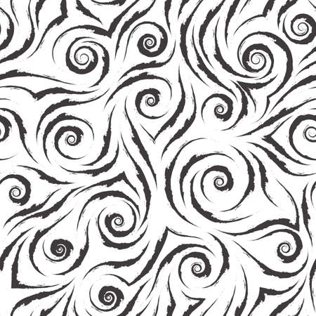 Stock black and white vector seamless pattern. Water waves or splashes. Abstract texture from brush strokes isolated on white background Stock Illustratie