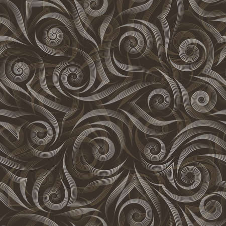Stock vector background. Abstract texture from graceful beige and grey lines on a brown background.Texture for wrapping paper or fabric