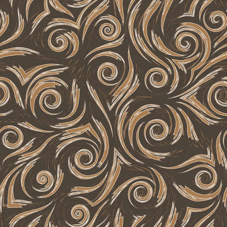 Stock beige vector seamless pattern. Waves or splashes of water. Abstract texture from brush strokes on brown background. Texture for wrapping paper or fabric.