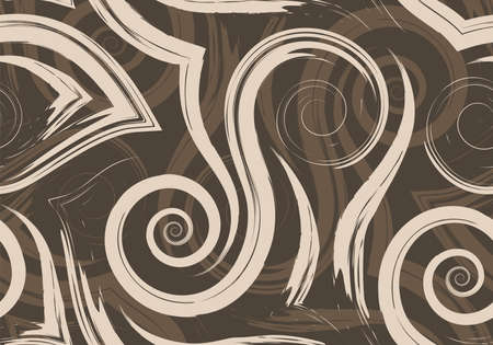 Stock Seamless vector pattern of beige smooth lines and spirals on a brown background. Texture of waves and swirl for packaging or decor of the website background.