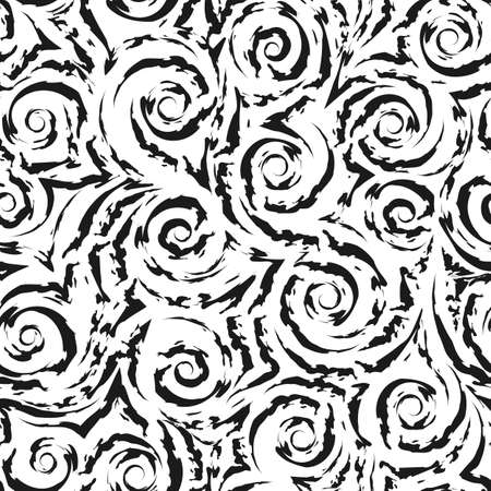 Seamless black vector pattern of smooth lines and spirals with torn edges isolated on white background.Texture for fabric or wrapping paper. Vetores