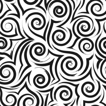 Geometric seamless pattern of smooth black waves of spirals and curls on a white background.Monochrome pattern sea or ocean stylized waves or ripples on the water.
